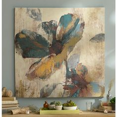 Abstract Aqua & Brown Floral Canvas Art Print | Kirklands