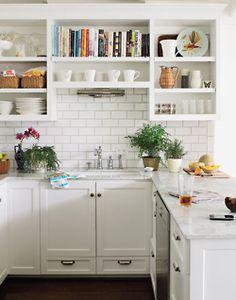 Perfect kitchen..brick tiles, plants, white, exposed shelving...I love this kitchen!