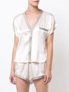 Vanilla white silk Joanie pyjama top from morgan lane. Sleepwear Women, Pajamas Women, Pajama Top, Pajama Bottoms, Lingerie Outfits, Sexy Lingerie, Purple Lingerie, Cute Comfy Outfits, Casual Outfits