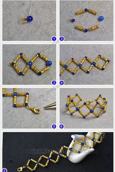 Tutorials on how to make bracelet with bugle beads and glass beads. Handmade Beaded Jewelry, Beaded Jewelry Patterns, Bracelet Patterns, Bead Jewellery, Wire Jewelry, Bullet Jewelry, Bracelet Crafts, Jewelry Crafts, Beaded Rings