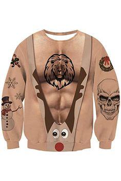 New TUONROAD Men Women Ugly Christmas Sweatshirt 3D Print Sweater Boys Party Pullover Tops. reindeer christmas jumper ($16.99)alltoenjoyshopping