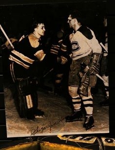 """Black Eyed Boston Goalie """"Sugar"""" Jim Henry Shakes Hands With a Bloodied Maurice Richard After Montreal Defeated Boston In Game 7 Of The 1952 Semi-Finals; One of the most famous photos in Original 6 Hockey Bruins Hockey, Hockey Goalie, Hockey Players, Ice Hockey, Hockey Sport, Hockey Mom, Montreal Canadiens, Mtl Canadiens, Maurice Richard"""
