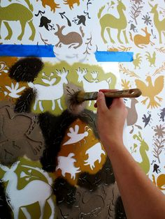 How to stencil a wall with traditional otomi patterns - Wall stencils from Royal Design Studio