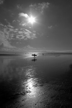 Surfer at Saunton Sands Devon Black and White Devon Beach, The Sound Of Waves, Vintage Surf, Great Photos, Painting Inspiration, Seaside, Places Ive Been, Beautiful Places, Surfing