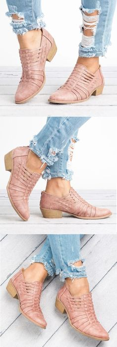 $45.29 USD Sale! SHOP NOW! Free Shipping Women Plus Size Faux Leather Booties with Zipper