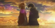 Sword Art Online - 1x14 The End Of The World [gif] - Kirito and Asuna - love this so so much!