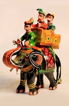King Sitting on Royal Elephant  - Kondapalli Doll