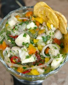 Fish ceviche recipe - eating with banana chips. Do not eat with any chips unless you make your own almond chips - see snack recipes.