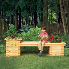 child enjoying a seat on an outdoor planter bench on a beautiful day . cedar 2×4s Get twenty 8-foot boards to make the 16½-inch planter pieces and the 82½-inch-long seat frame.  2. cedar 1¼×6s Get four 6-foot boards to make the 63-inch-long seat, and one 8-foot board to trim the tall planter.