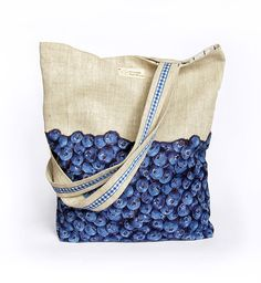 Linen Berries Bag, Blueberries Tote, Kawaii Blue Shopper Bag