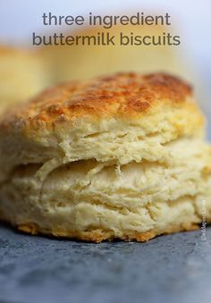 Three Ingredient Buttermilk Biscuit Recipe - So simple and perfect every time! Only 3 ingredients! Delicious! Family favorite I make all the time!