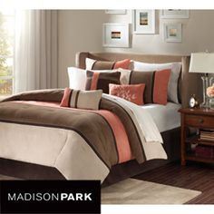 @Overstock - This Hanover set offers you a a soft microsuede design in khaki, brown and warm coral. The reverse of the comforter is solid coral. http://www.overstock.com/Bedding-Bath/Madison-Park-Hanover-7-piece-Queen-size-Comforter-Set/6319532/product.html?CID=214117 $111.99