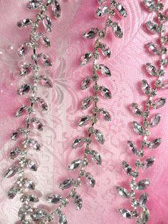 XR115 Silver Crystal Clear Rhinestone Leaf Vine Trim Bridal Cake Decoration | eBay