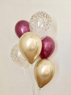 Burgundy Chrome Gold & Clear Gold Confetti Latex Balloon~Fall Balloon~Wedding~Bridal Shower~Birthday~Fall In Love~Gold Confetti Look Balloon