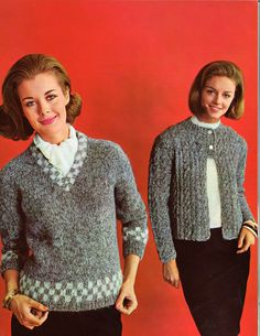 Checks & Twists • 1960s Pullover Sweater Jacket Patterns • 60s Vintage Ribbed Cabled Knitting Jumper Pattern • Retro Knit PDF