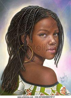 Niña de raza negra 41 Lienzo Óleo Retrato