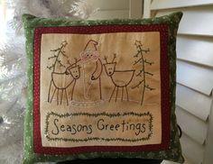 Seasons Greetings Christmas Pillow  Hand by StitchingTimeBoutiqu