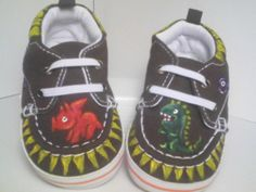 Dinosaur Shoes - Hand Painted - Size 2. $25.00, via Etsy.