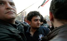 Wael Ghonim, center, in Tahrir Square in Cairo in 2011. His anonymous Facebook page helped start a revolution.