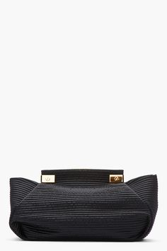 LANVIN Oversize Black Stitched Satin Clutch