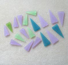 Cultured Sea Glass Triangle Pendants Bead by CatsBeadKitsandMore