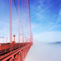 Fog shrouding the Golden Gate Bridge. Photo courtesy of franzzfoxx on Instagram.
