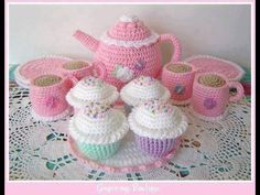 PDF Crochet Pattern Tea Set by gingersnapboutique on EtsyWhat a cute crochet pattern!free crochet patterns for christening blanketsTime for a tea party with this adorable crocheted tea set and scrumptious cupcakes.Ravelry: Tea Cozy s Crochet Amigurumi, Crochet Food, Cute Crochet, Amigurumi Patterns, Crochet For Kids, Crochet Crafts, Crochet Dolls, Crochet Projects, Knit Crochet