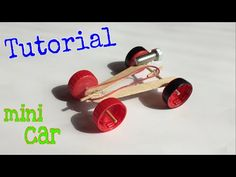 How to Make a mini Rubber band Car - (Homemade Toy) - Tutorial - YouTube