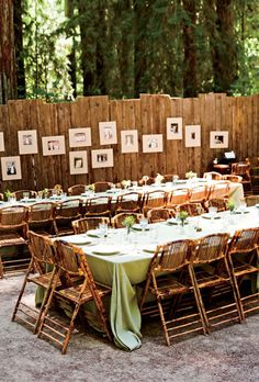 """Brides.com: A Rustic, Vintage Wedding in Sonoma. Sarah hung framed family wedding photographs on a fence near the dinner tables as a way of celebrating the Bertram and Hall families' coming together. """"Many of the people in the old photos were at the wedding,"""" she says. """"Everyone loved that."""""""