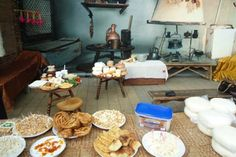 Circassian house and traditional cuisine with Haliva (Helzho) and Mataz (Metaze), two of the prominent traditional Adyghe snacks. Israel Food, Millet Bread, Dried Pears, Romania Food, Turkey Places, Boiled Chicken, Stewed Potatoes, Cheese Pies, Canning Tomatoes