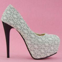 Show Story New Romantic White Lace Hidden Platform Pumps Shoes,LF36581WT38,7US,White