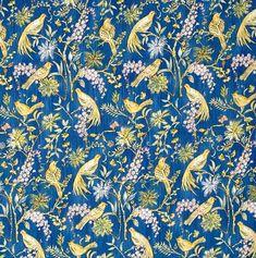Dena Designs Marquesas Plume in Navy Blue Fabric Summer Bird Aqua Fabric, Fabric Birds, Floral Fabric, Green And Purple, Orange Pink, Pink Brown, Yellow, Bird Quilt, Free Spirit Fabrics