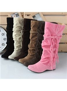 Jim Hugh Women Mid-Calf Boots Wedge Short Plush High Heels Platform Side Zipper Spring Autumn Shoes