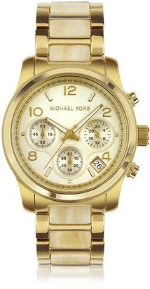 fbdfd097802 Michael Kors Mid-Size Horn Acetate and Golden Stainless Steel Runway  Chronograph Watch - ShopStyle Women