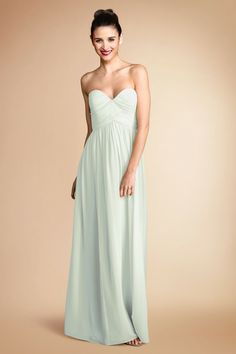 """Can I just wear a bridesmaid's dress as my wedding gown? Donna Morgan """"Laura"""" - flat silk chiffon in pale mint green..."""