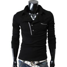Mens casual rider style slim fit collar t-shirts