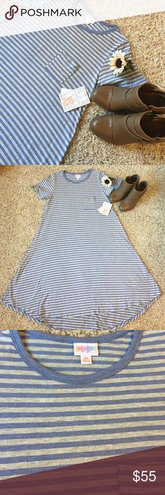 LuLaRoe Periwinkle Blue and Gray Striped Carly This Carly is new and sooo soft. It is one of the most comfortable dresses out there and looks great with boots, vans, flats, sandals, just about anything! It should be a closet staple for everyone! If you are not familiar with LuLaRoe's sizing, please, ask. ☺️🎉 LuLaRoe Dresses High Low