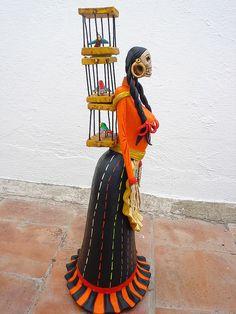 Catrina Pajarera de Michoacan. Art by Helena Nares.
