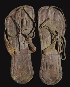 archaicwonder:  Coptic Leather Sandals, Circa 5th-6th Century AD Each with a sole of two layers stitched together, the thong and straps thre...