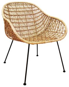 "Open Weave accent chair Rattan and Steel Size: 24.5""W x 26""D x 30.5""H"