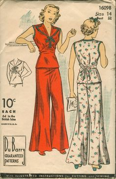 Vintage pajamas were so much more stylish than the t-shirt. Rare Vintage Du Barry Sewing Pattern or 2 Piece Pajamas Vintage Dress Patterns, Clothing Patterns, Vintage Dresses, Vintage Outfits, Vintage Clothing, 1930s Fashion, Look Fashion, Retro Fashion, Vintage Fashion