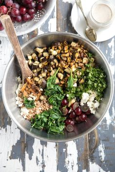 Vegetarian Meal Prep, Vegetarian Recipes, Healthy Recipes, Farro Salad, Roast Eggplant, Walnut Salad, Mustard Dressing, Spinach And Cheese, My Favorite Food