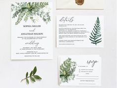Greenery Wedding Invitation Set Template by Golden Leaf Paperie Forest Wedding Invitations, Wedding Invitation Sets, Wedding Greenery, Four O Clock, Golden Leaves, Our Wedding, Reception, Template, Place Card Holders