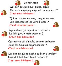 herissons - Page 5 French Teaching Resources, Teaching French, French Poems, Ontario Curriculum, Core French, Kindergarten Fun, French Teacher, French Immersion, French Lessons