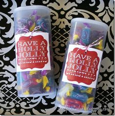 Have a Holly Jolly Christmas. Upcycle Crystal Light containers filled with Jolly Ranchers - diy 12 Days Of Christmas, Diy Christmas Gifts, Holiday Crafts, Holiday Fun, Christmas Holidays, Christmas Neighbor, Christmas Goodies, Christmas Presents For Neighbors, Teacher Christmas Ideas
