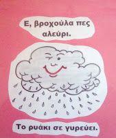 Πέφτει βροχή, πέφτει βροχή στο πρόσωπο μου πέφτει... Μια μέρα βροχερή, χτύπησε το τζάμι της τάξης μας η σταγόνα και μας είπε τη...