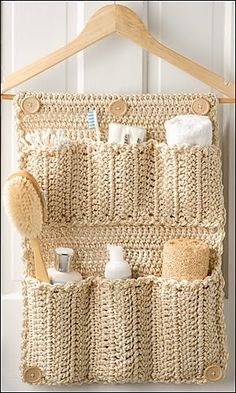 Ravelry: Bathroom Door Organizer crochet pattern by Debra Arch 30 Handy Designs and Craft Ideas to Keep Homes Organized and Neat Bathroom Organizer DIY Crochet Bathroom Door Organizer - instructions in the August 2013 issue of Crochet World. Crochet Diy, Crochet World, Crochet Home, Crochet Crafts, Crochet Projects, Diy Crafts, Crochet Ideas, Homemade Crafts, Ravelry Crochet