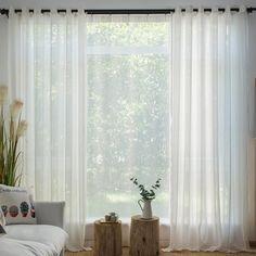 Gardine mit kleinem Streifen Jacquard weiß Minimalismus White Sheer Curtains, Window Treatments, Simple, Modern, Fabric, Hollywood Regency, Interiors, Home Decor, Products