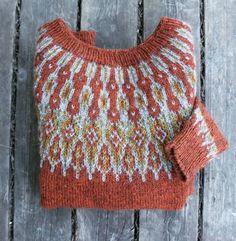 Beautiful colorwork yoke sweater in burnt orange. Icelandic Sweaters, Fair Isle Pattern, Fair Isle Knitting, How To Purl Knit, Pulls, Knitting Projects, Knitting Patterns, Knit Crochet, Burnt Orange