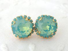 Mint seafoam Swarovski crystal stud earrings by EldorTinaJewelry, $44.00